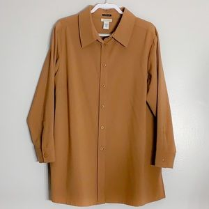 Camel Avenue Stretch Long Sleeve Button Down top
